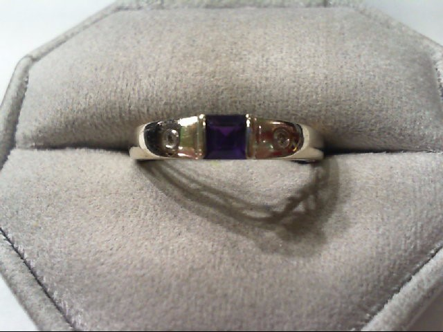 Amethyst Lady's Stone & Diamond Ring 2 Diamonds .04 Carat T.W. 10K White Gold