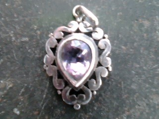 Synthetic Amethyst Silver-Stone Pendant 925 Silver 1.2dwt