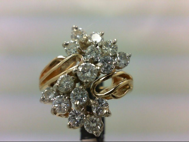 Lady's Diamond Cluster Ring 15 Diamonds 2.13 Carat T.W. 14K Yellow Gold 9.8g Siz
