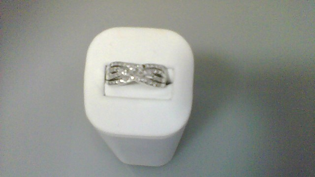 Lady's Silver-Diamond Ring 8 Diamonds .08 Carat T.W. 925 Silver 6.4g