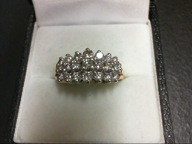 Lady's Diamond Cluster Ring 21 Diamonds 0.84 Carat T.W. 14K Yellow Gold 4.3g