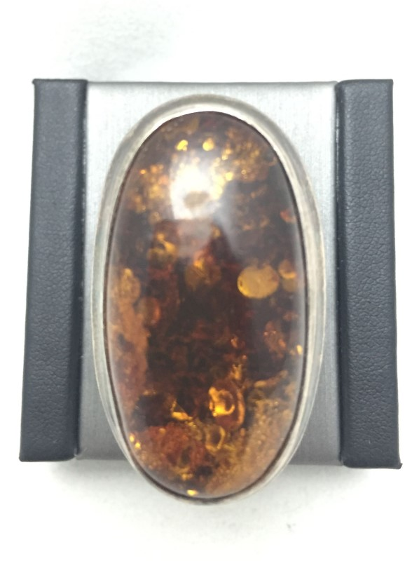 Lady's Amber Silver Ring 925 Silver 10.2dwt Size:7.5