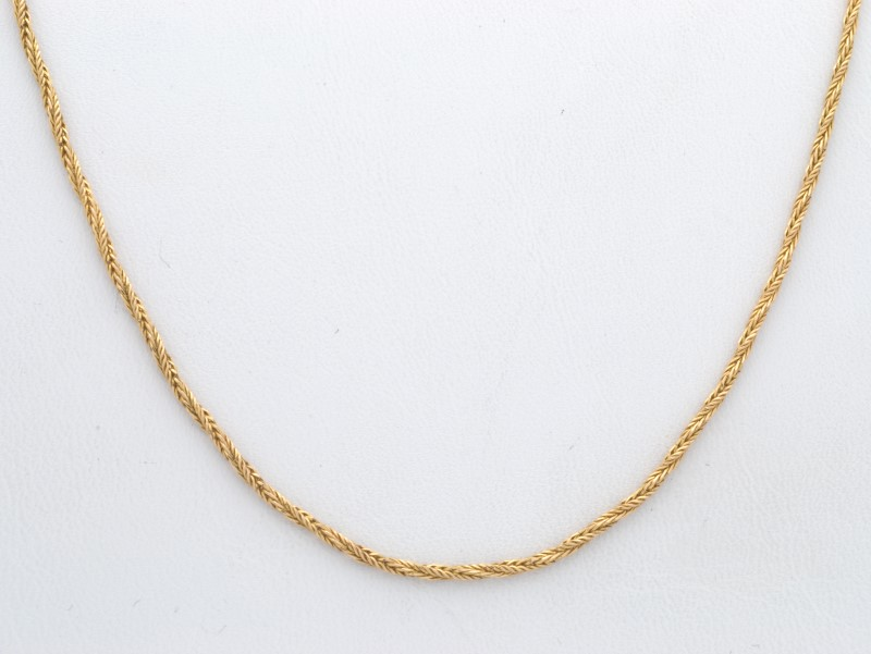 ESTATE SOLID 14K YELLOW GOLD NECKLACE CHAIN WHEAT TWIST FINE 1MM 16""