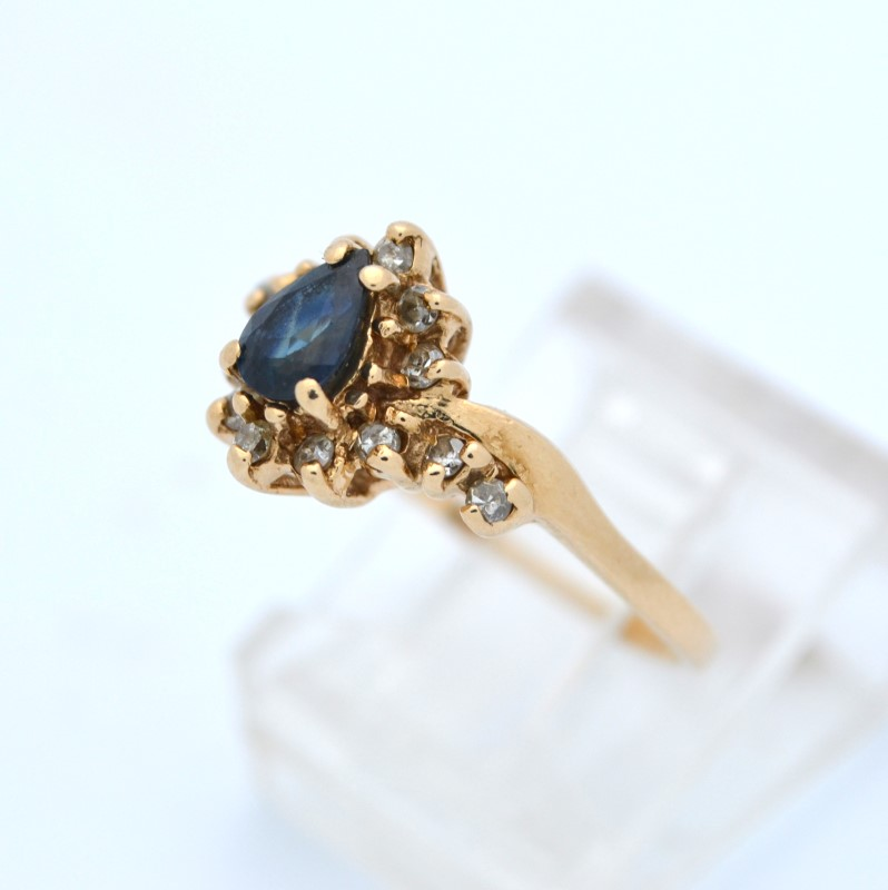 ESTATE BLUE SAPPHIRE DIAMOND SOLID 14K GOLD PEAR CUT DROP SIZE 6.5