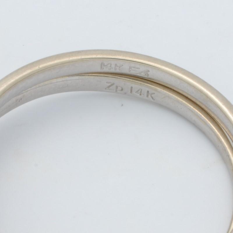 ESTATE DIAMOND WEDDING SET RING BAND SOLID 14K WHITE GOLD BIG SIZE 11