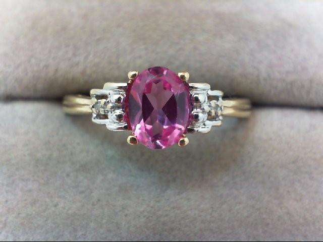 Pink Sapphire Lady's Stone & Diamond Ring 2 Diamonds 0.02 Carat T.W. 10K Yellow