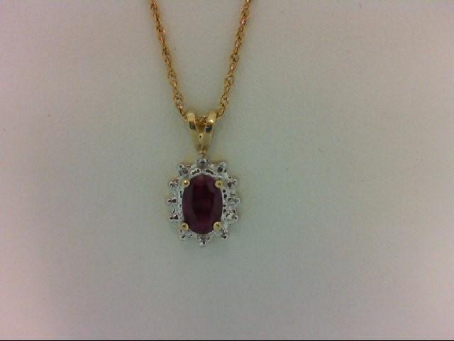 Ruby Gold-Diamond & Stone Pendant 2 Diamonds 0.02 Carat T.W. 10K Yellow Gold 0.7