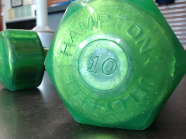 HAMPTON FITNESS Exercise Equipment JELLY BELL DUMBBELLS 10LBS EACH