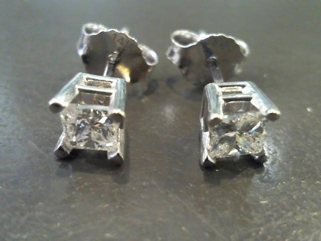 Gold-Diamond Earrings 2 Diamonds .60 Carat T.W. 14K White Gold 0.8g