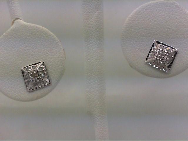 Gold-Diamond Earrings 18 Diamonds 0.18 Carat T.W. 10K White Gold 1.3g