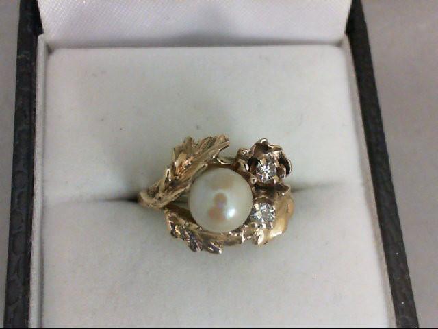 Pearl Lady's Stone & Diamond Ring 2 Diamonds 0.1 Carat T.W. 14K Yellow Gold 3g