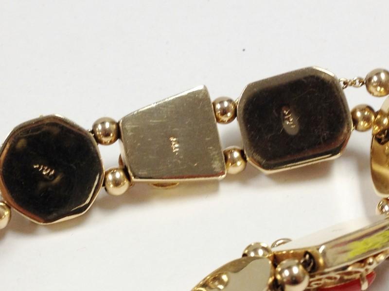 Vintage 1960's Circa Charm Bracelet 42.0g 14kt Yellow Gold & Semi Precious Stone