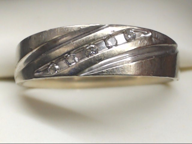 Gent's Gold-Diamond Wedding Band 5 Diamonds .05 Carat T.W. 10K White Gold 4.3g