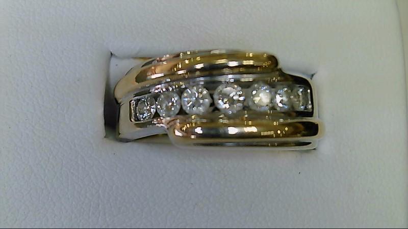 gents 14k white and yellow gold round diamond ring