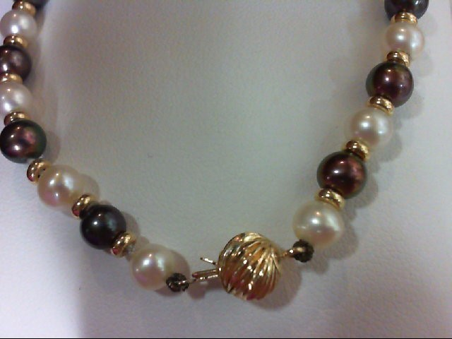 Pearl Gold-Stone Bracelet 14K Yellow Gold 6.2g