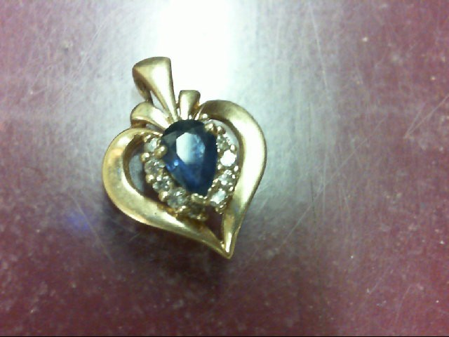 Sapphire Gold-Diamond & Stone Pendant 10 Diamonds 0.1 Carat T.W. 10K Yellow Gold