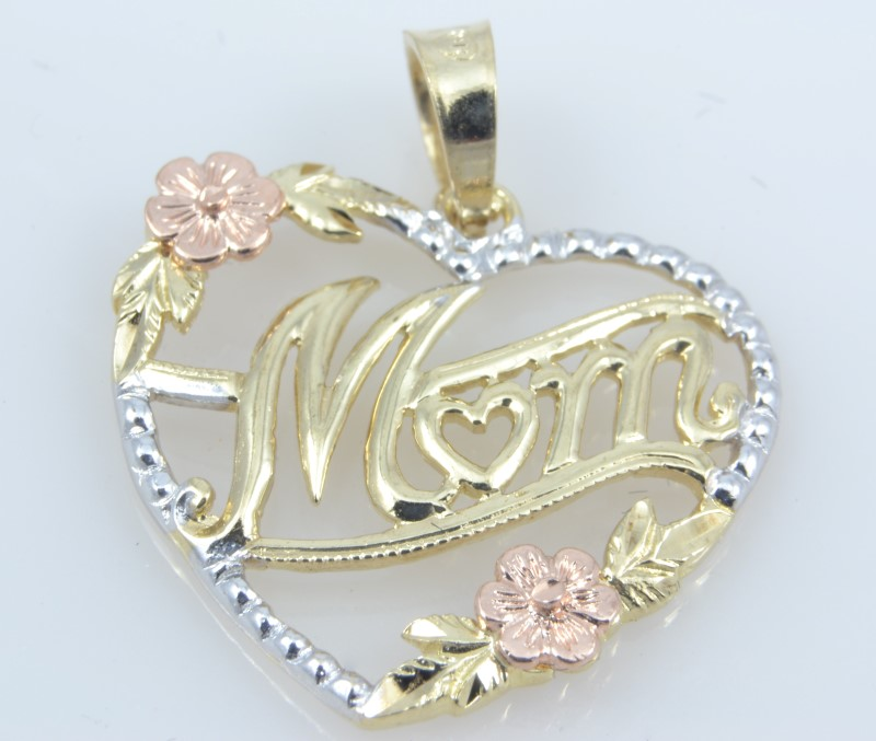 MOM HEART CHARM PENDANT SOLID 10K GOLD MOTHER DAY FLOWER TRI FINE ROSE