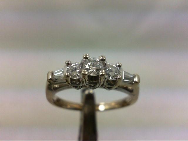 Lady's Diamond Engagement Ring 5 Diamonds .59 Carat T.W. 14K White Gold 4.95g