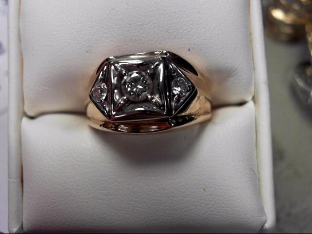 Gent's Diamond Fashion Ring 3 Diamonds .37 Carat T.W. 14K Yellow Gold 10.92g