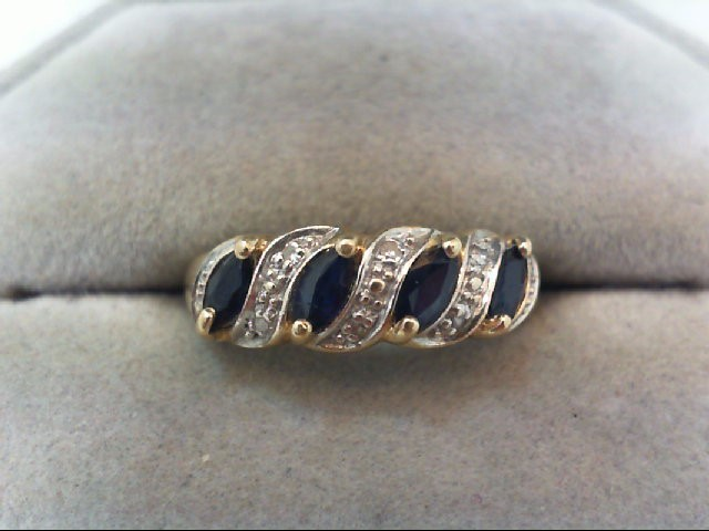 Sapphire Lady's Stone Ring 14K Yellow Gold 2.6g