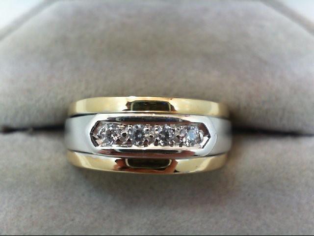 Gent's Gold-Diamond Wedding Band 4 Diamonds 0.12 Carat T.W. 14K 2 Tone Gold 6.8g