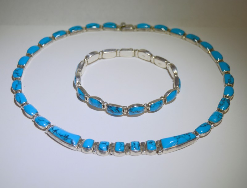 Turquoise Silver-Stone Bracelet 950 Silver 18.3g