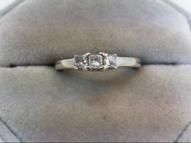 Lady's Diamond Fashion Ring 3 Diamonds .36 Carat T.W. 14K White Gold 2.4g