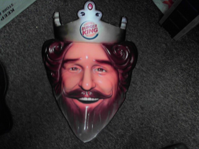 BURGER KING Sign KING CROWN PLEXIGLASS SIGN 17X26""