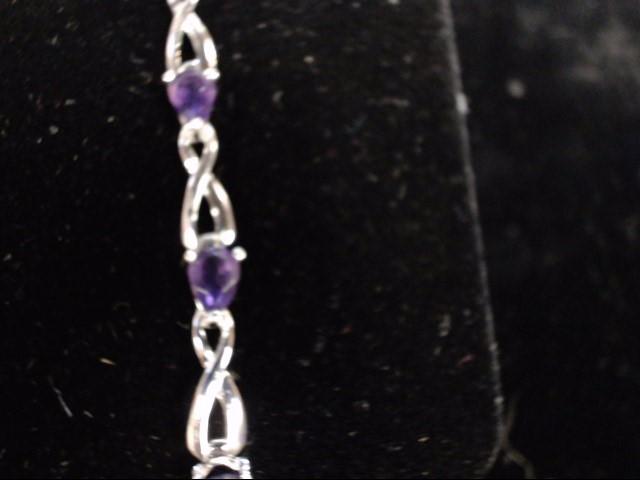 Purple Stone Gold-Stone Bracelet 14K White Gold 5.5g