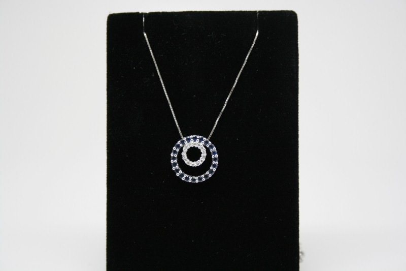 DOUBLE CIRCLE OF LIFE DIAMOND & BLUE SAPPHIRE PENDANT