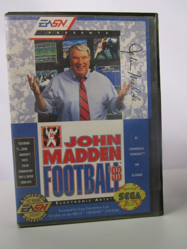 JOHN MADDEN FOOTBALL 93, RARE LIMITED EDITION FIRST ROUND J22327, SEGA GENESIS