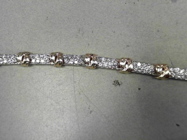 Gold-Diamond Bracelet 96 Diamonds 1.92 Carat T.W. 14K 2 Tone Gold 16.9g