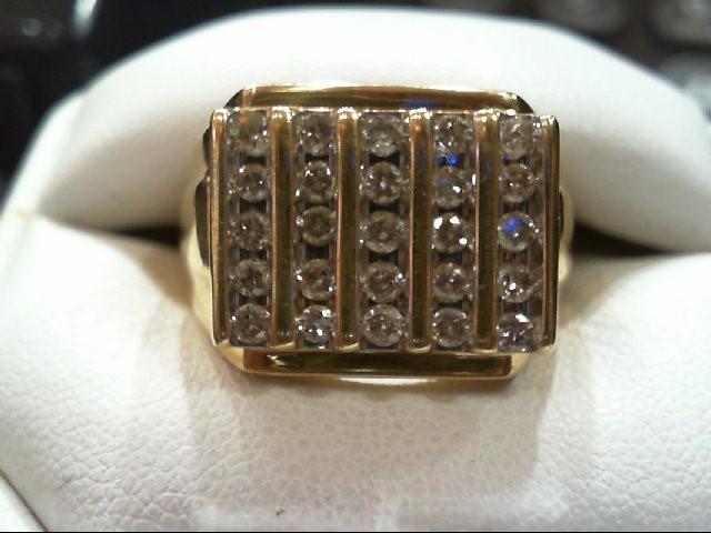 Gent's Diamond Cluster Ring 25 Diamonds 1.50 Carat T.W. 14K Yellow Gold 6.2g