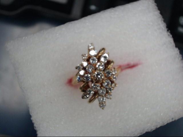 Lady's Diamond Cluster Ring 10 Diamonds .50 Carat T.W. 14K Yellow Gold 3.49dwt