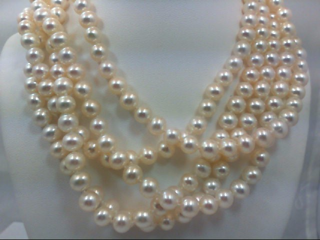 "66"" Pearl Strand Stone Necklace 85.32g"