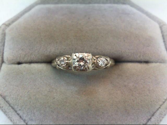 Lady's Diamond Engagement Ring 3 Diamonds .24 Carat T.W. 14K White Gold 2.8g