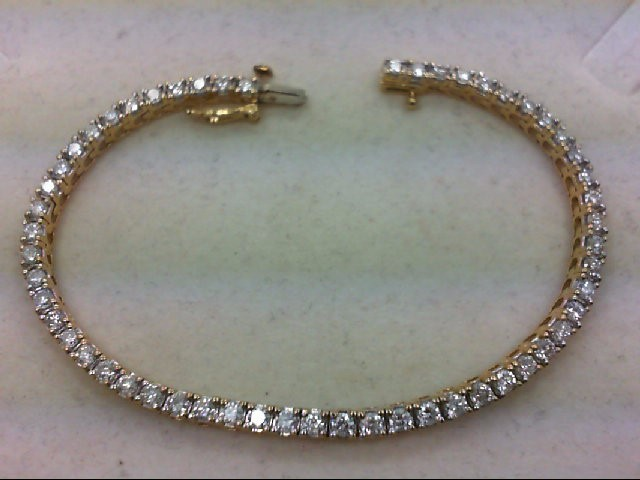 Gold-Diamond Bracelet 55 Diamonds 3.00 Carat T.W. 14K Yellow Gold 10.54g