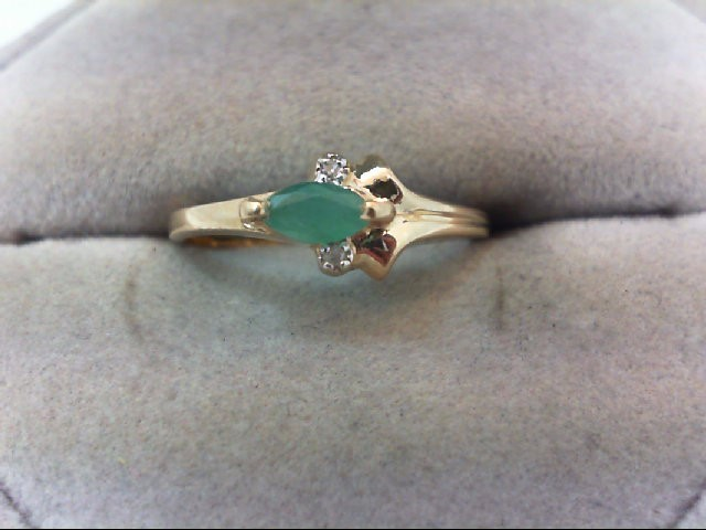Emerald Lady's Stone & Diamond Ring 2 Diamonds .02 Carat T.W. 10K Yellow Gold