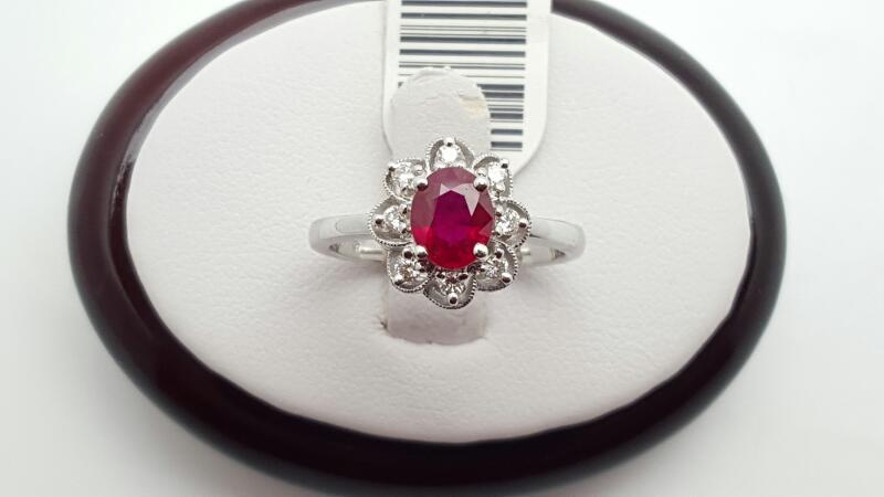 Lady's Ruby & Diamond Ring 8 Diamonds .16 Carat T.W. 18K White Gold 4.5g