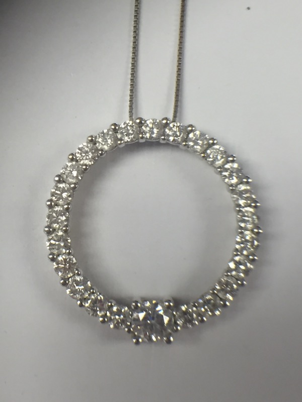 Stunning 14K White Gold Circle of Life Pendant on Box Chain Over 1.0CTW