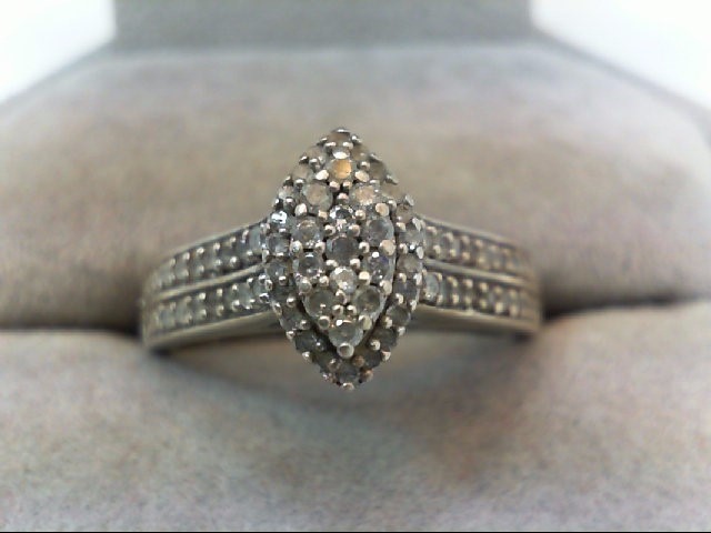 Lady's Silver-Diamond Ring 58 Diamonds .58 Carat T.W. 925 Silver 4.8g