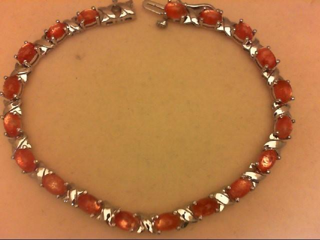 Orange Stone Silver-Stone Bracelet 925 Silver 11.6g