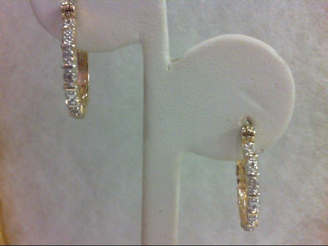 Silver-Diamond Earrings 2 Diamonds 0.02 Carat T.W. 925 Silver 2.7g