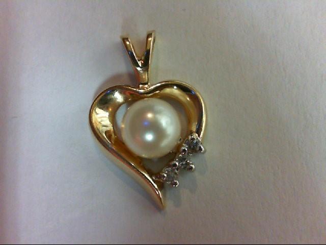Pearl Gold-Diamond & Stone Pendant 3 Diamonds 0.03 Carat T.W. 14K Yellow Gold 1.