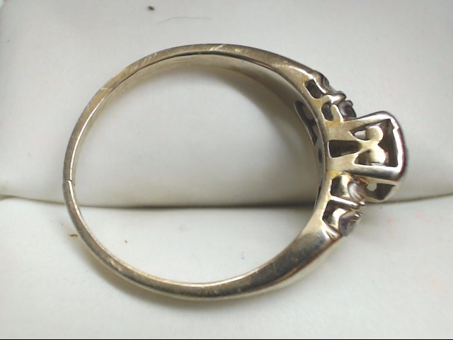 Lady's Diamond Solitaire Ring 3 Diamonds .10 Carat T.W. 14K White Gold 3g