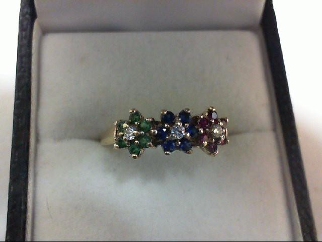 Ruby Lady's Stone & Diamond Ring 3 Diamonds 0.12 Carat T.W. 10K Yellow Gold 2.2g