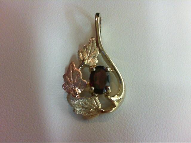 Almandite Garnet Gold-Stone Pendant 10K Tri-color Gold 2.7g