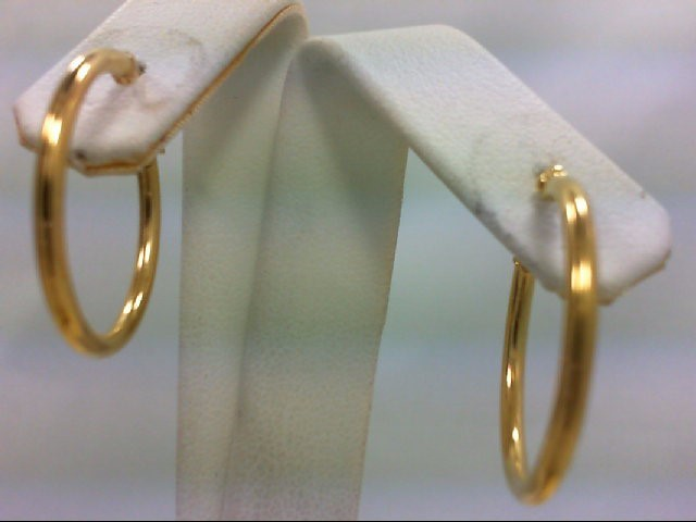 Beautiful Pair of Hoop Gold Earrings 14K Yellow Gold 3.1g