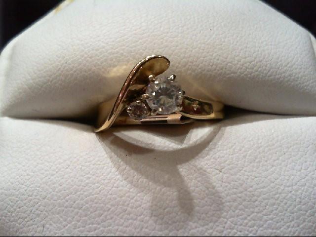 Lady's Diamond Fashion Ring 2 Diamonds .41 Carat T.W. 14K Yellow Gold 3.6g