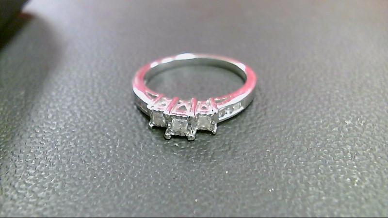 Lady's Diamond Engagement Ring 9 Diamonds .38 Carat T.W. 10K White Gold 2.8g